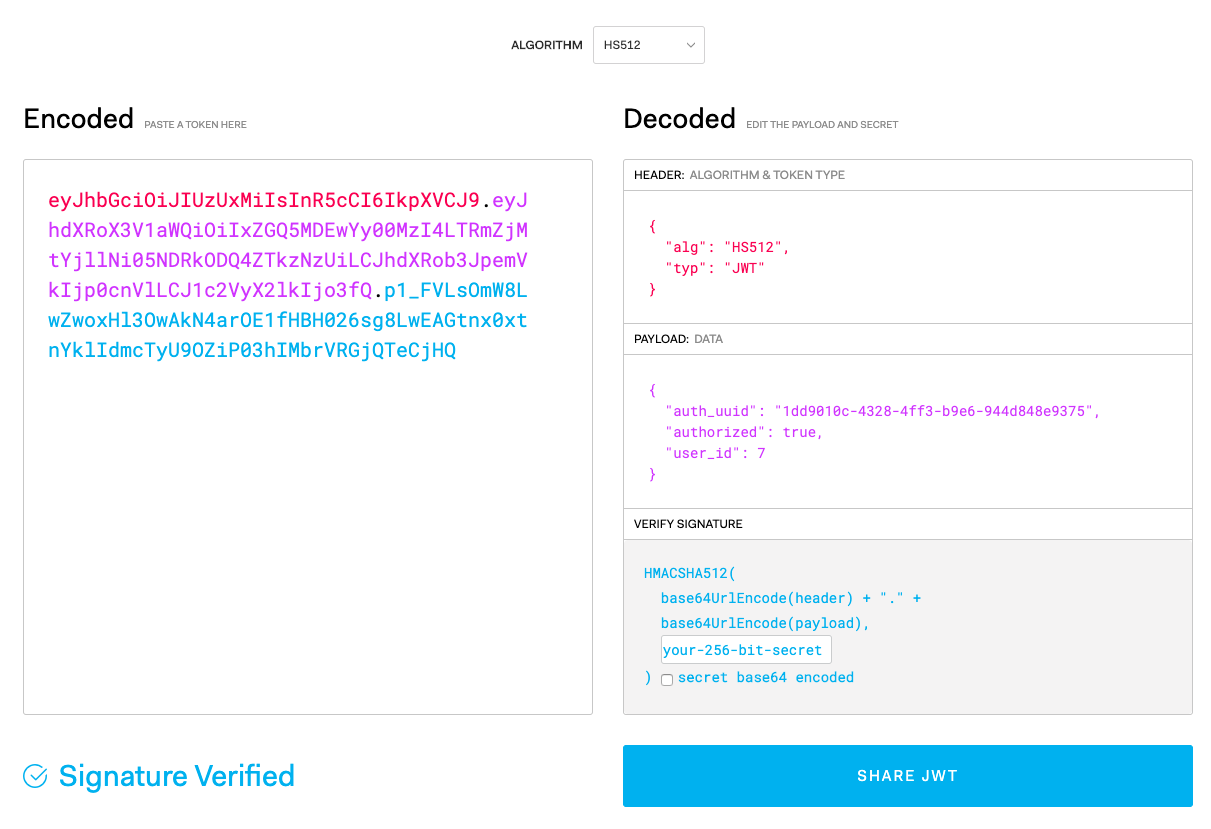 A JSON Web Token broken down using JWT.io