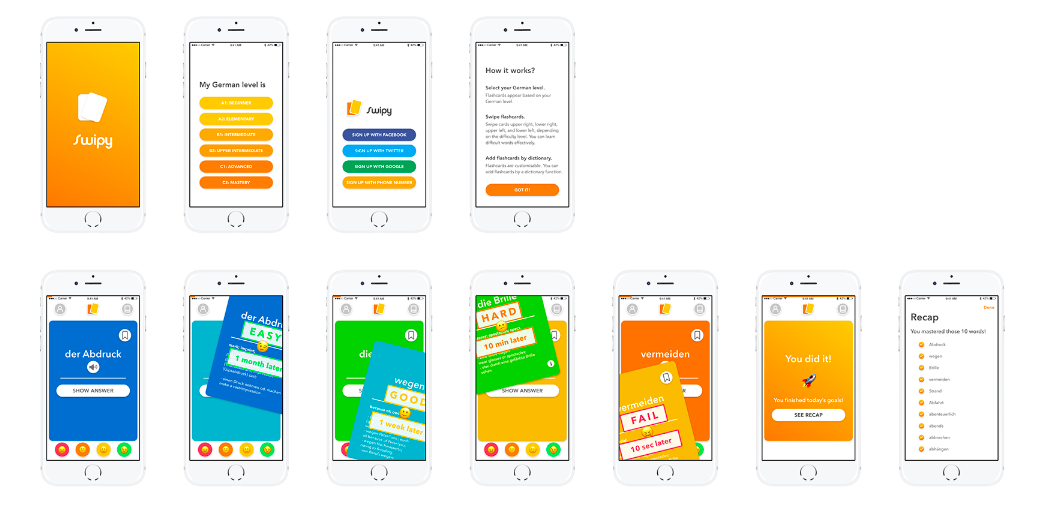 Polished, hi-fi wireframes for the Swipy app, by Risa Nakajima