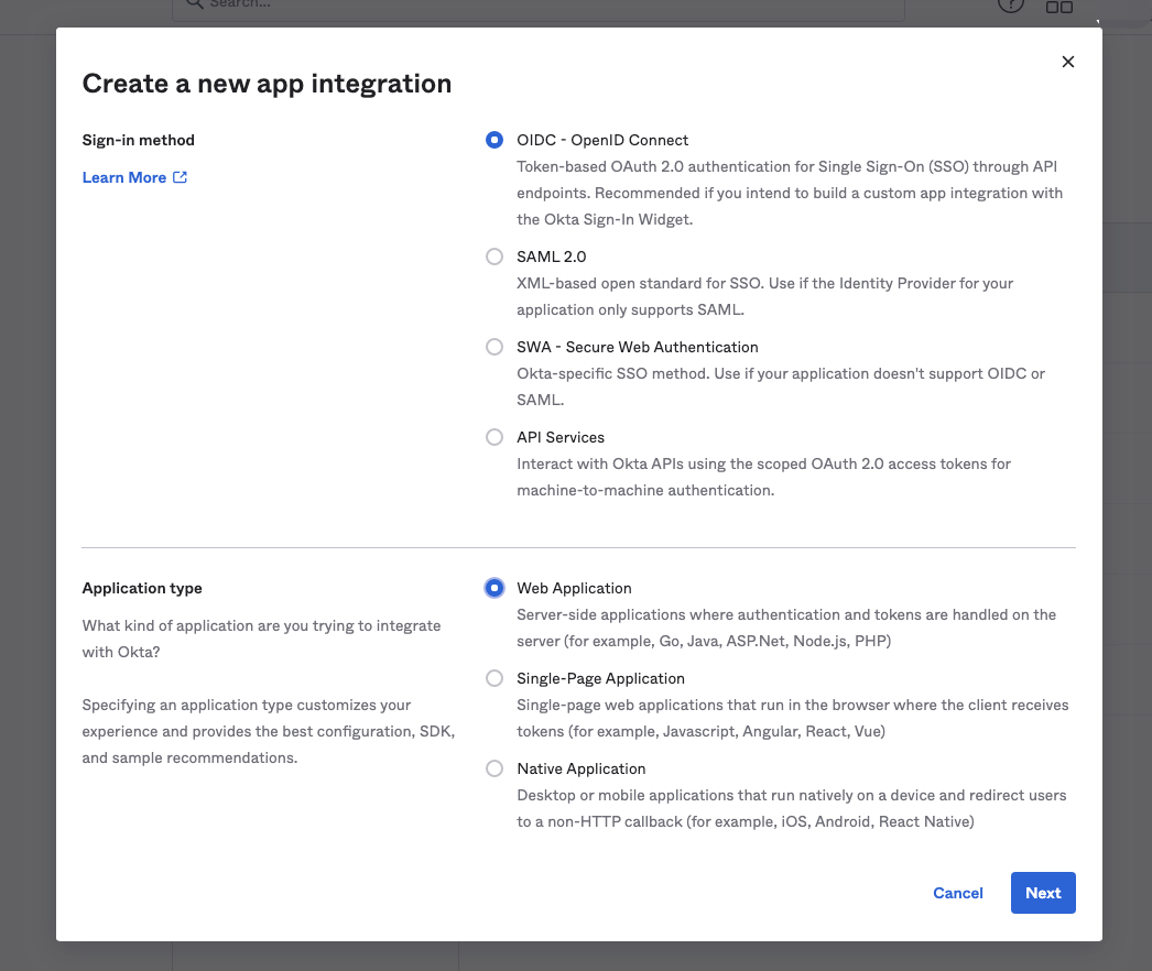 Create App Integration