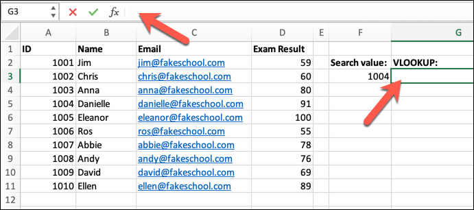 An Excel spreadsheet containing a student class list, with data on student ID numbers, names, email addresses, and their most recent exam results. There is a red arrow pointing to the formula bar, and a red arrow pointing to a selected cell.