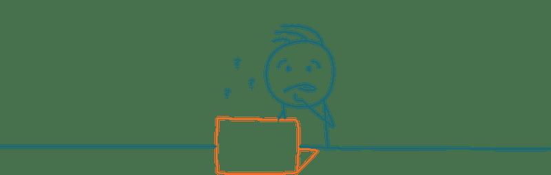Strichmännchen vor Computer mit Fragezeichen