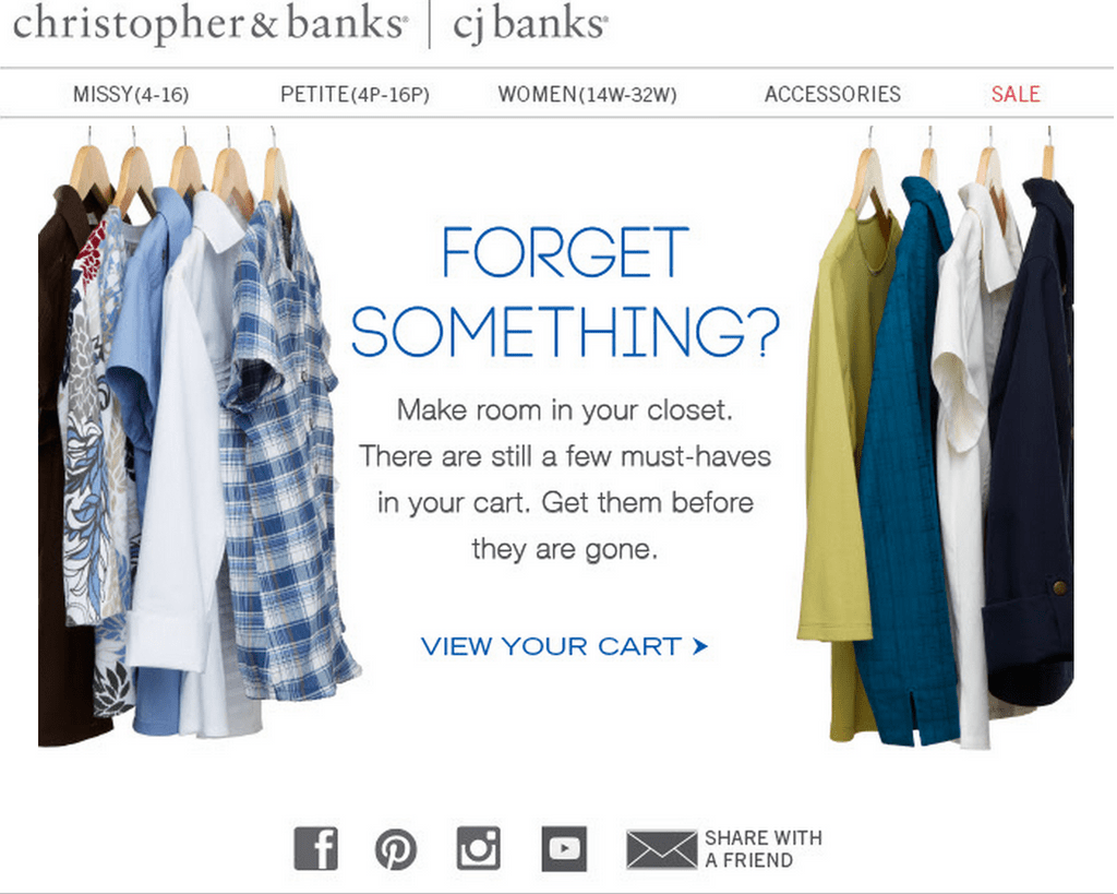 CJ banks email with product images