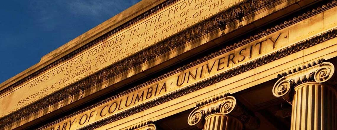 Columbia University Library image at sunset