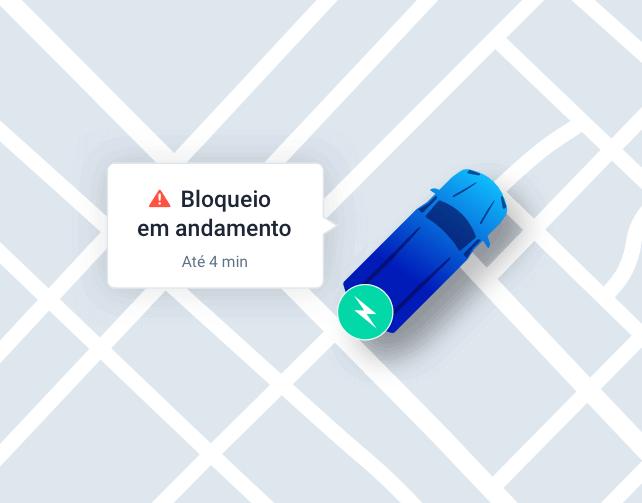Painel da Cobli alertando o usuário que o bloqueio do veículo está em andamento