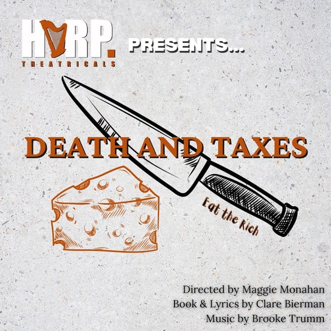 Death and Taxes, in orange, is emblazoned over a picture of a knife about to cut a block of cheese