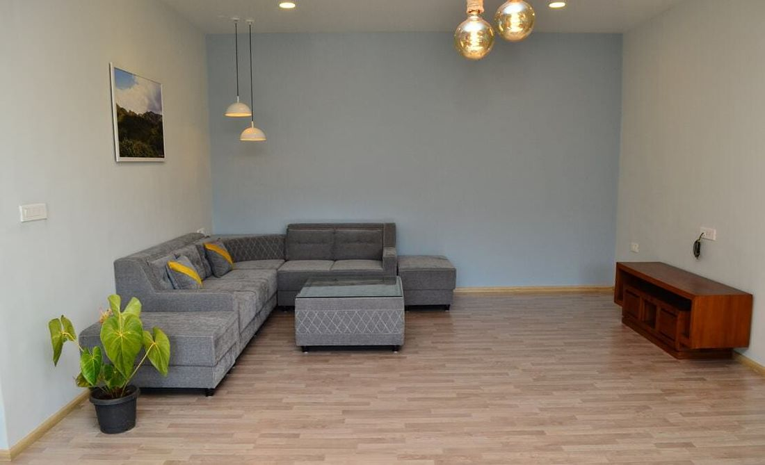 Living area with sofas and TV stand