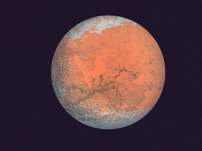 Vibrant illustration of the rusty planet Mars