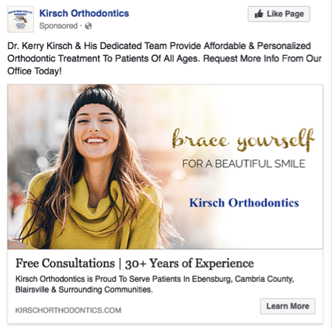 Facebook ads for orthodontic
