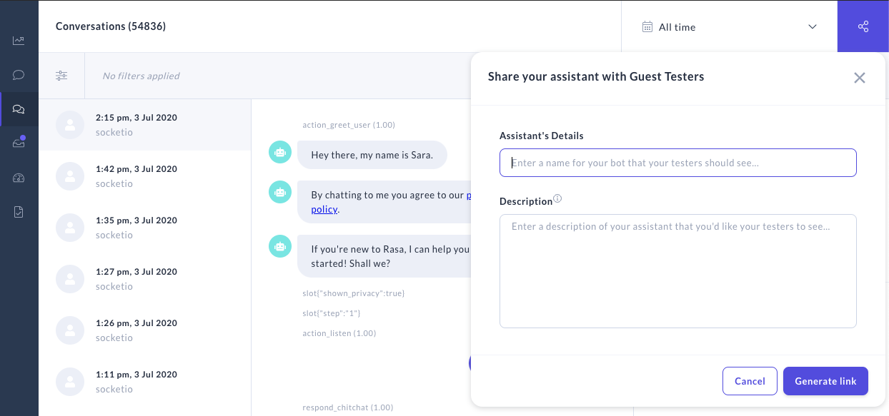 Share your bot modal