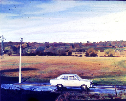 left hand panel depicting a white car on road with fields in background