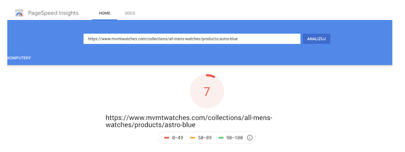 Product page page speed for MVM Watches