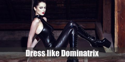 Latex dominatrix outfit