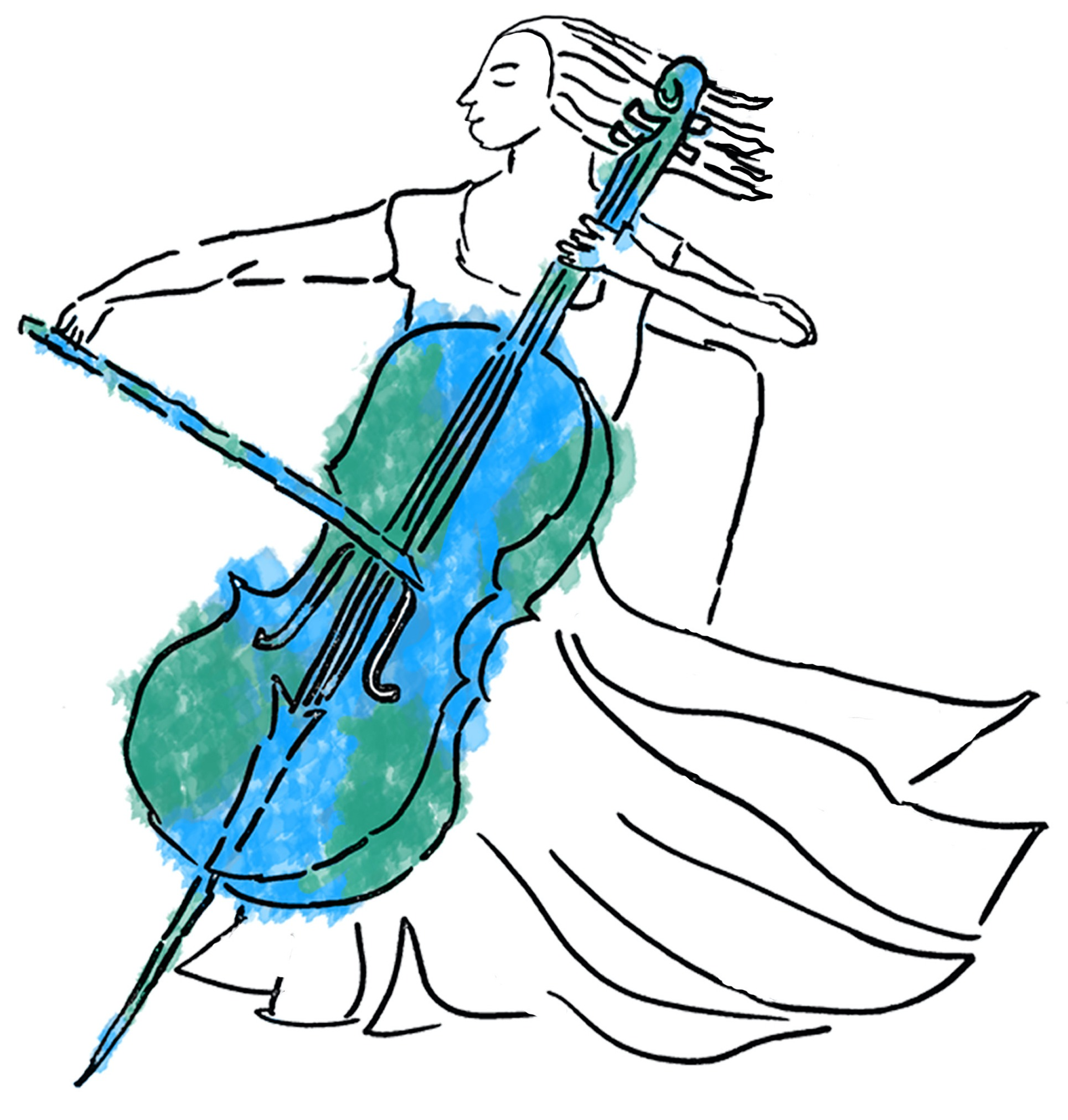 Logo of cellist playing a cello that is colored green and blue like the Earth.