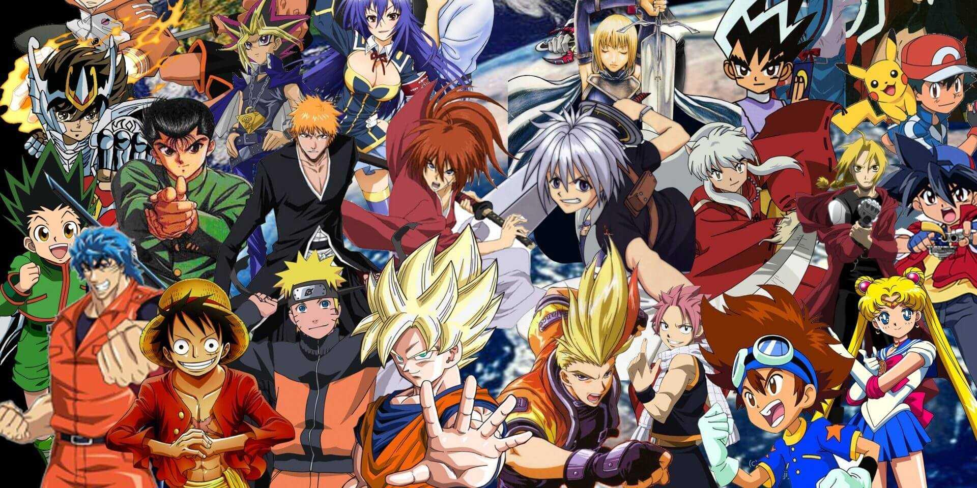Imagem com vários personagens de animes