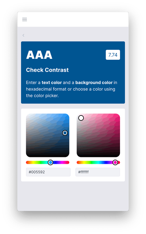 Swach showing the contrast checker tab comparing colors and calculating the WCAG score.