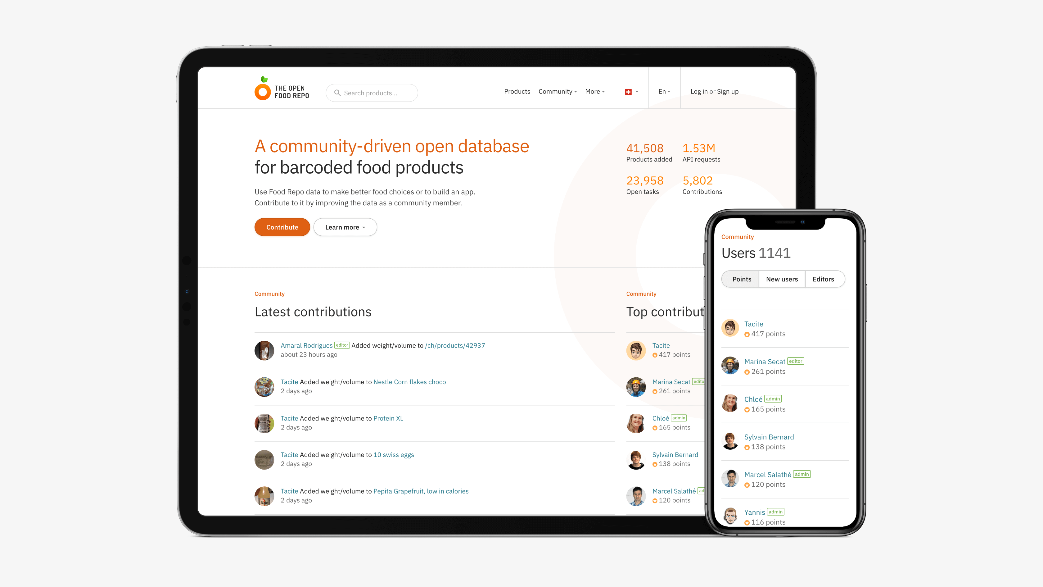 Screenshots of The Open Food Repo website