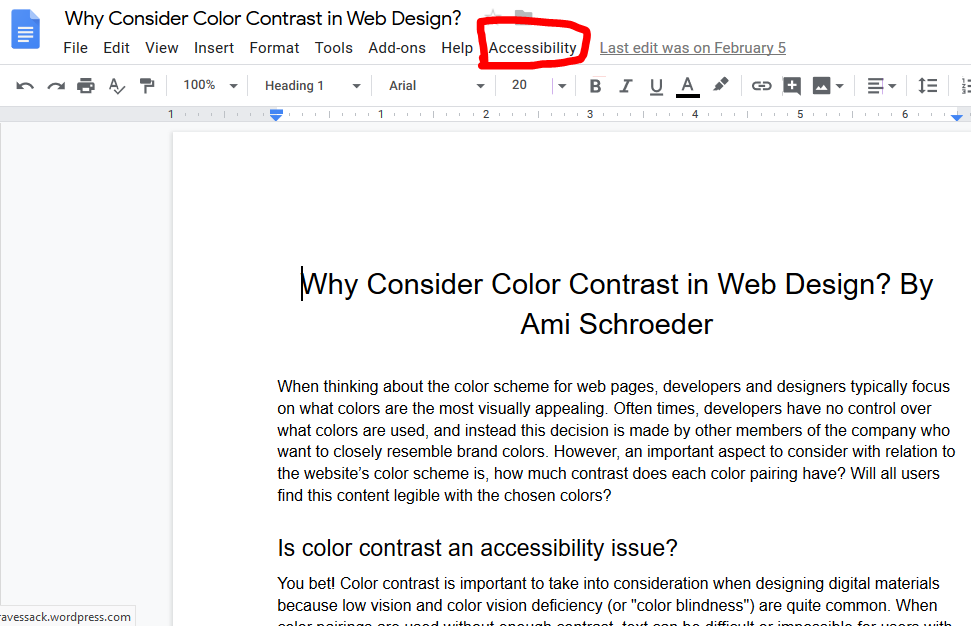 "A360 Google Doc, with red box around ""Accessibillity"" menu"