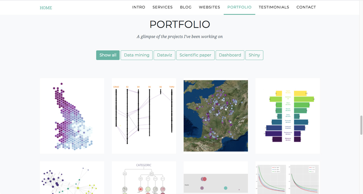 A selection of projects showcased in Yan Holtz's data analytics portfolio