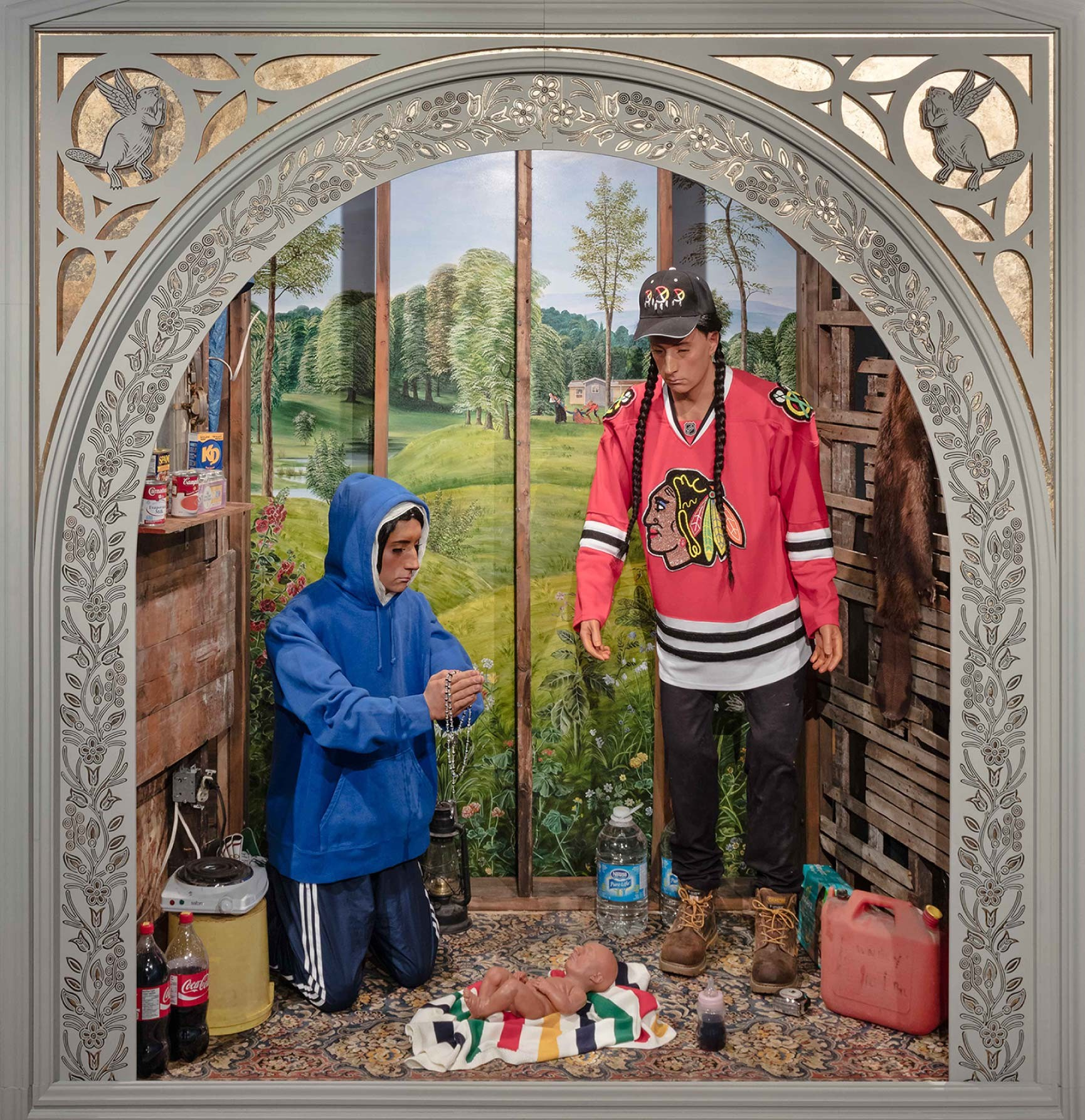 """""""Nativity Scene"""", a mixed media installation by artist Kent Monkman depicts life on Indigenous reserves in Canada"""