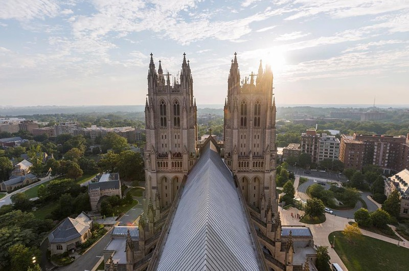 aerial view of Washington National Cathedral