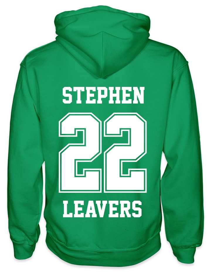 leavers hoodies solid 22 background design with a nickname printed across shoulders, solid 22, leavers printed at the bottom