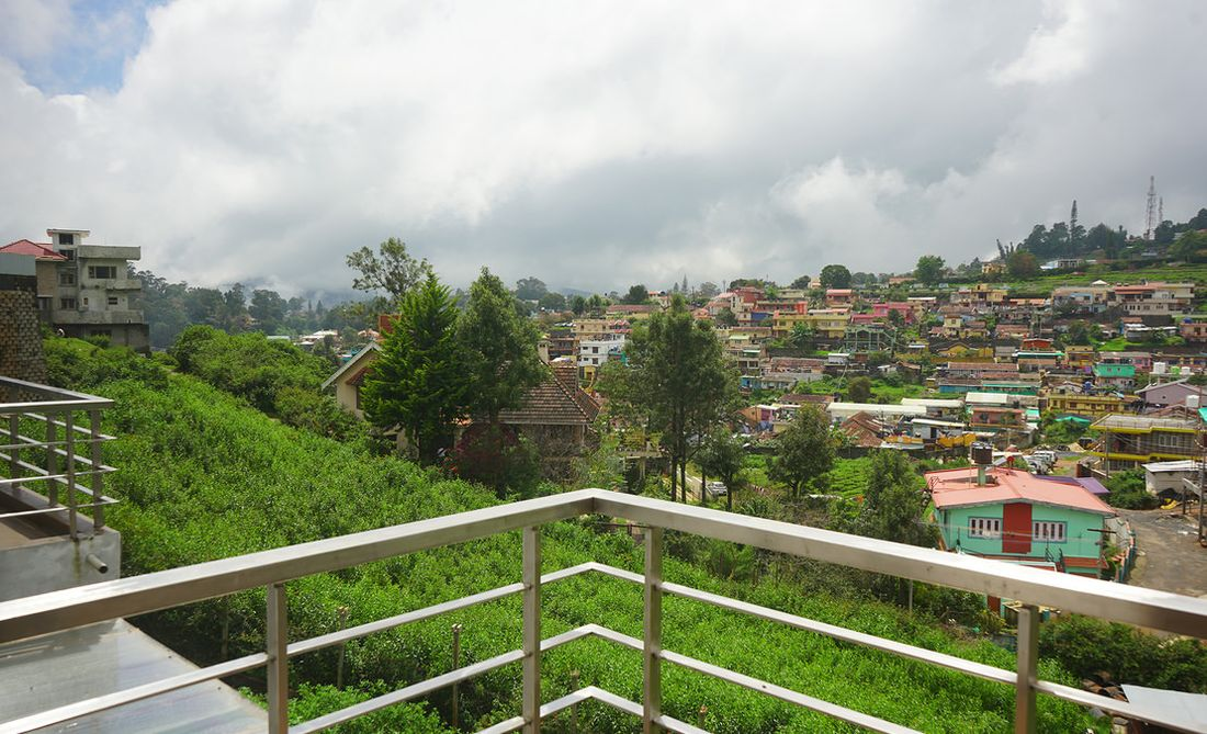 View of the town and neighbourhood of Brooklands from a balcony