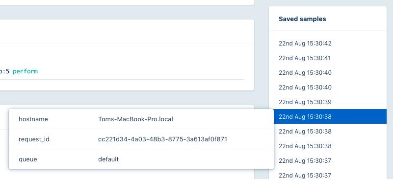 Screenshot of sample list