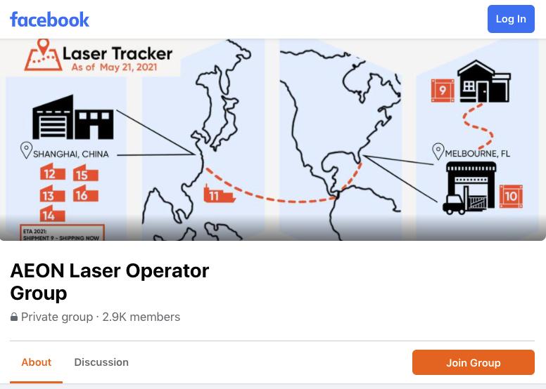 screenshot of Aeon Laser Operators facebook group page
