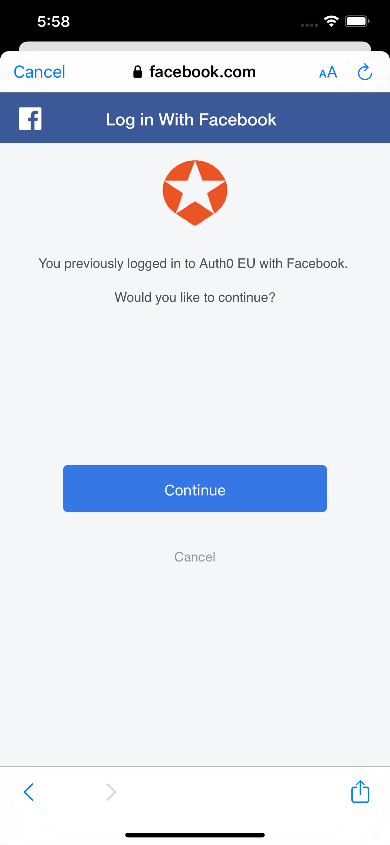 Facebook confirmation