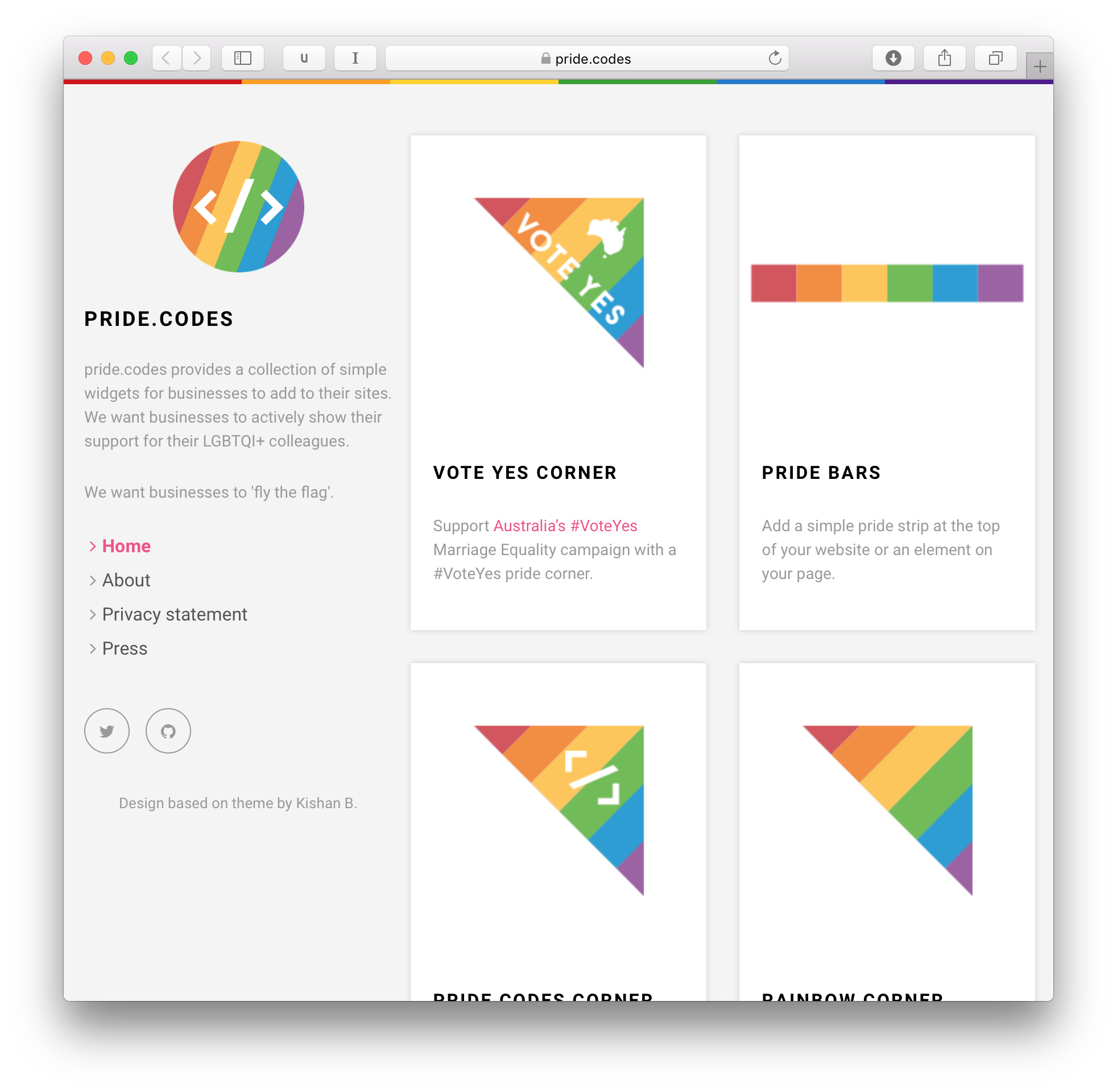 pride codes website screenshot