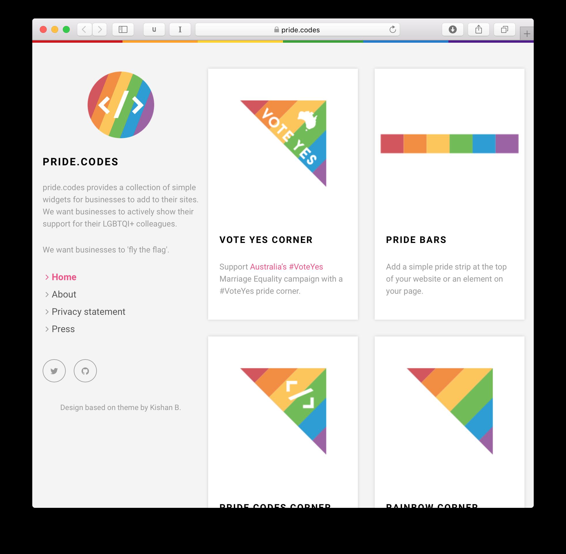 pride codes website screenshot
