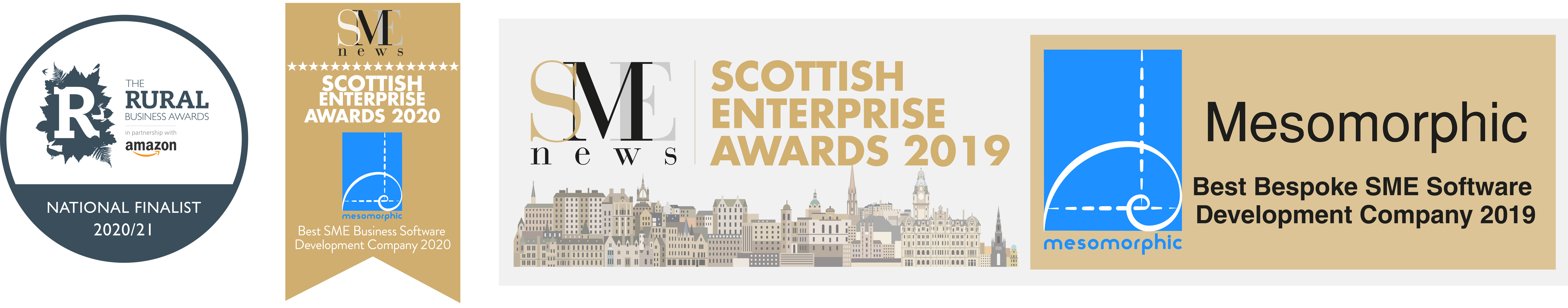 Combined awards logos for Amazon Rural Business Award finalists, SME Business Awards 2019 and 2020