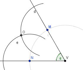 Narýsujeme kružnice se středem v bodě M a N