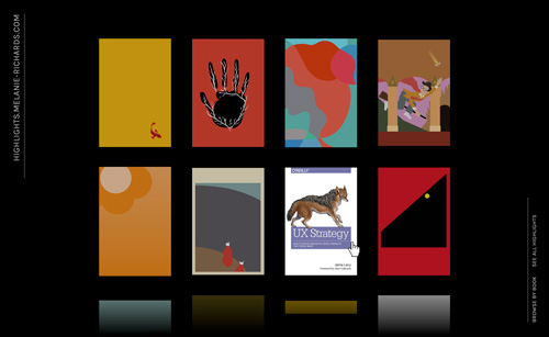 A grid of simplified book covers, with the user hovering over a cover to reveal the full-fidelity art