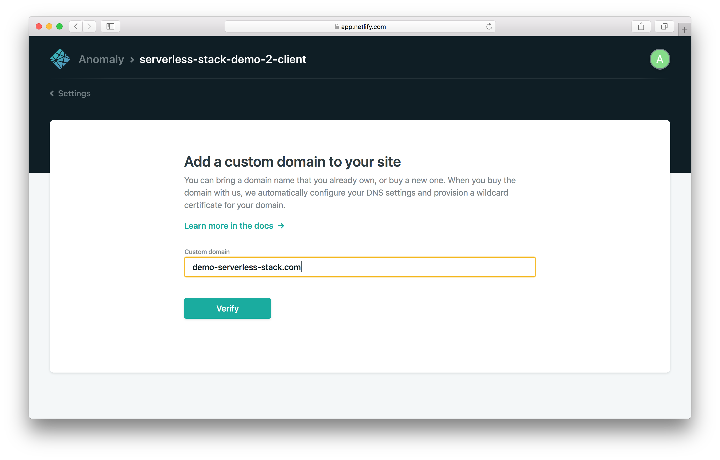 Enter custom domain screenshot