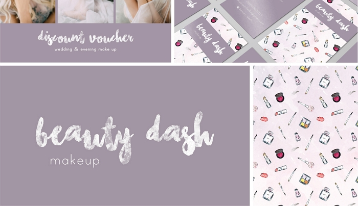watercolor pattern, logo and business card for Beauty Dash makeup artist item thumbnail