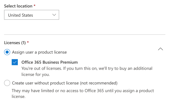 Office 365 Admin Center assign license to user