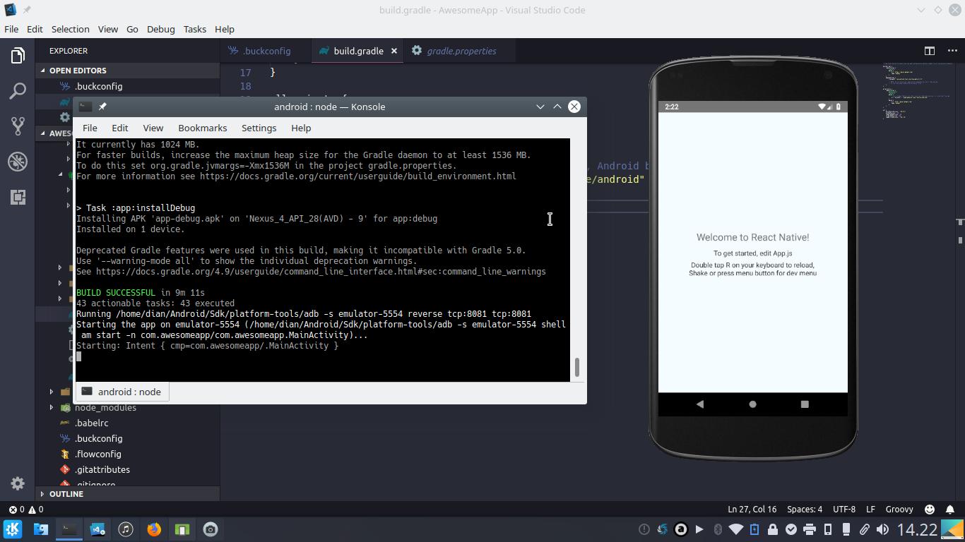 Aplikasi React Native pada emulator