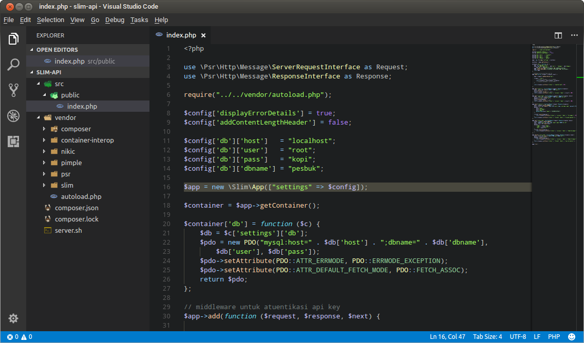 Text editor VS Code for writing PHP code