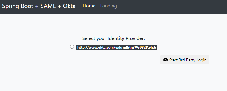 Select your (Okta) Identity Provider
