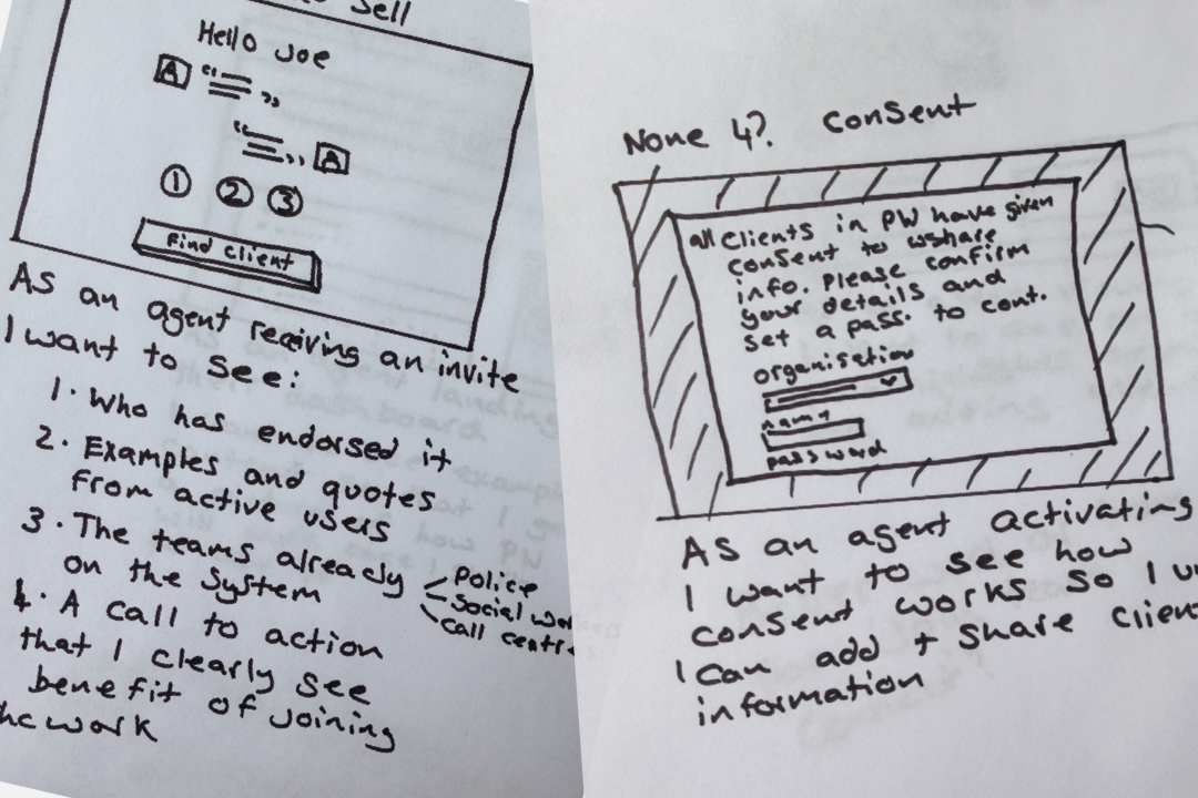 A sketch of consent screens