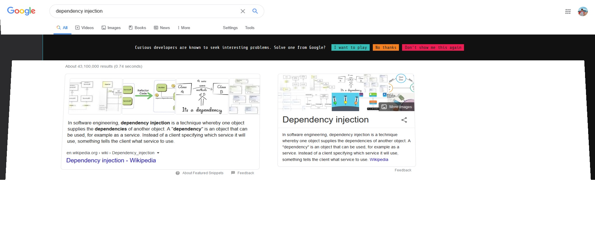 Google search page showing link to Google foo.bar
