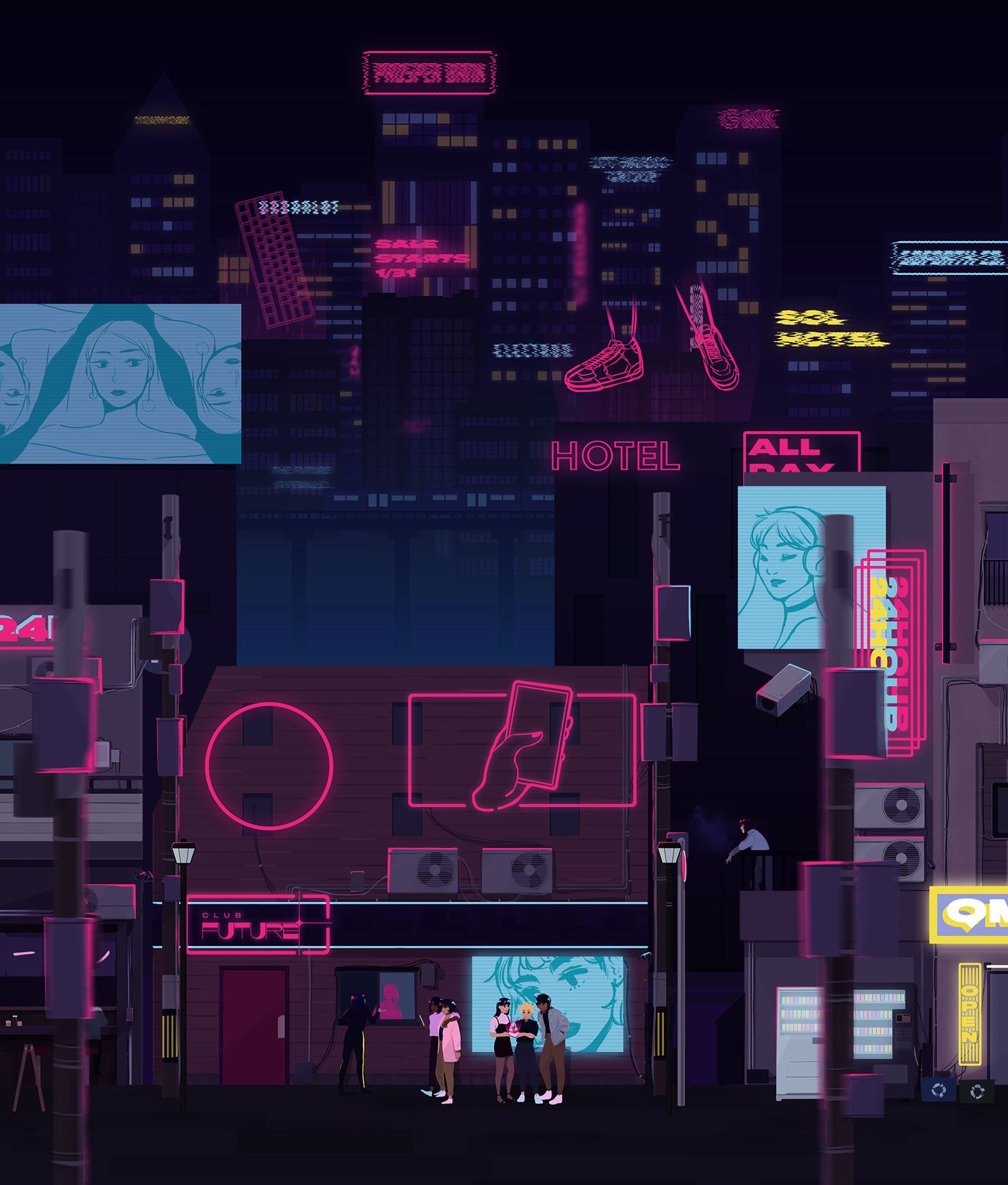 A cityscape with many floating neon lights and signs. In the front is a club with people waiting outside.