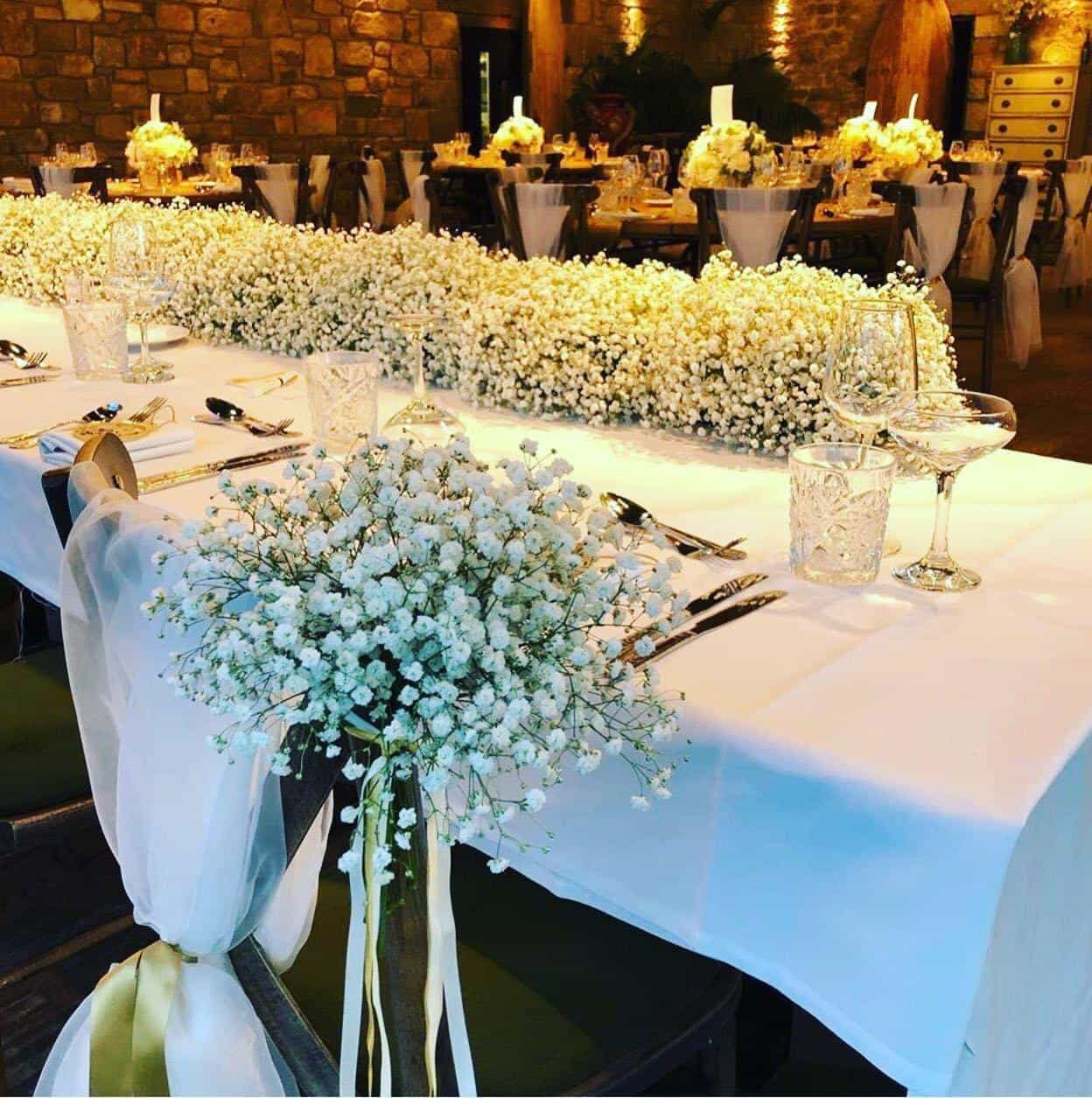 Wedding breakfast table dressing with fancy flowerly foliage covering tables and chairs