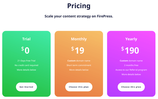 FirePress Pricing