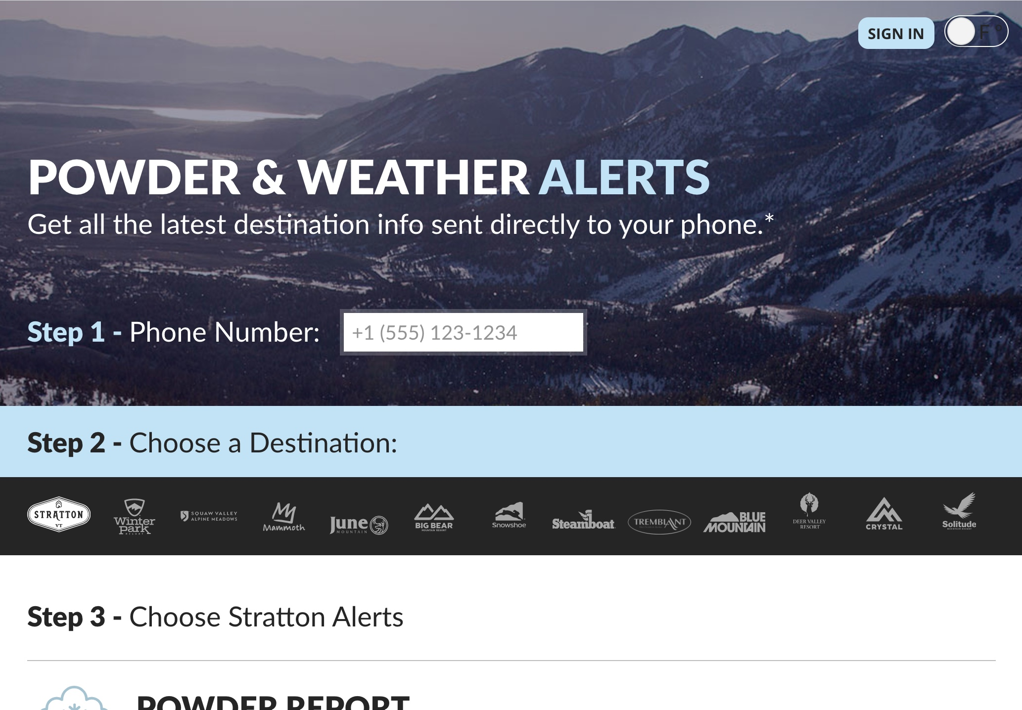 Mtn Powder POWDER & WEATHER ALERTS Screenshot
