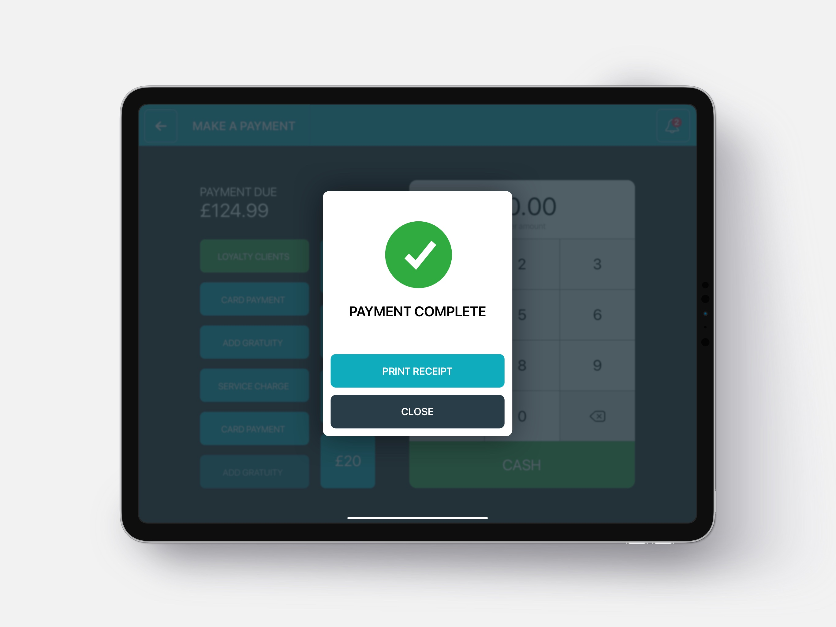 Payment complete screen
