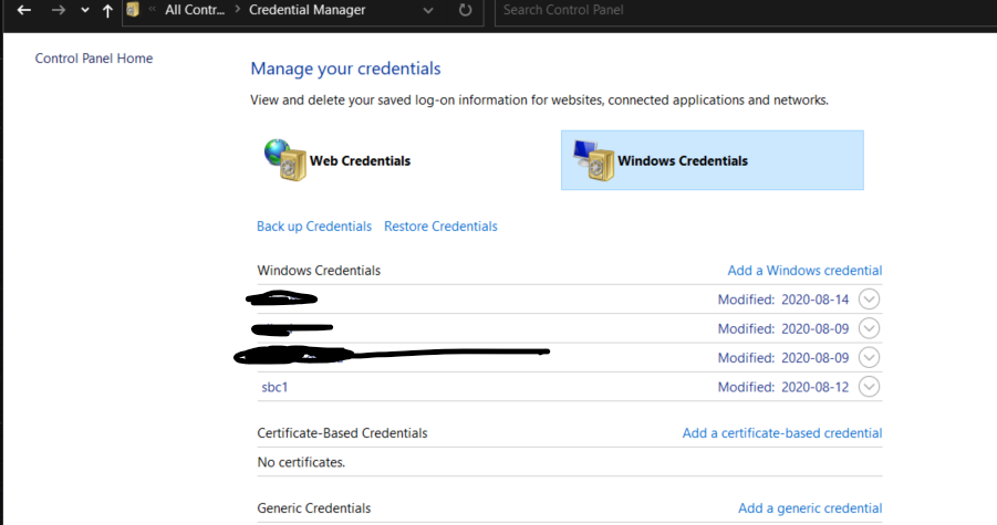 Screenshot of Windows Credential Manager with a Samba credential populated