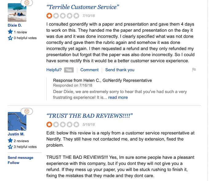gonerdify.com has a lot of negative review on SiteJabber