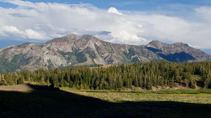 Storm clouds behind Silver Peak and Highland Peak